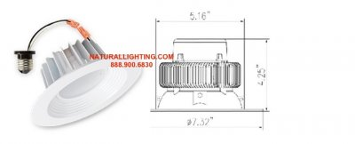 LED Recessed Retrofit 15 watt, 5000K, Dimmable  (# LEDR155D)